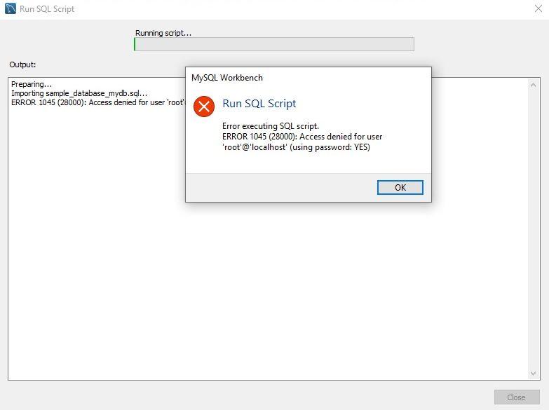 MySQL WorkbenchSQLパスワードエラー画面