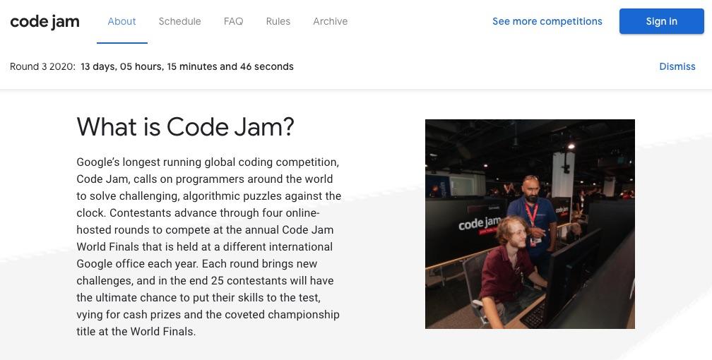 Google Code JamのTOP画面